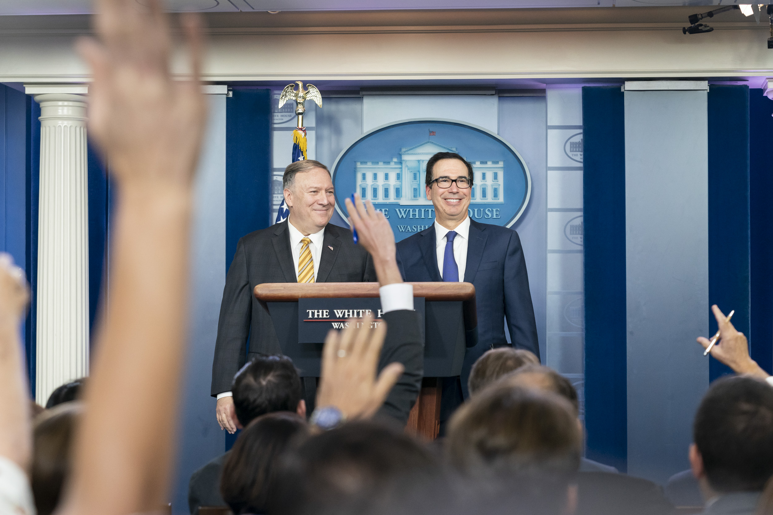Secretary Mnuchin and Secretary Pompeo announce new sanctions at the White  House. | U.S. Department of the Treasury