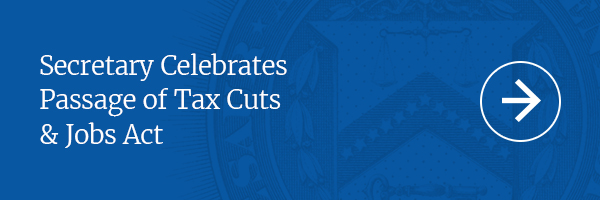 Secretary Celebrates Passage of Tax Cuts and Jobs Act