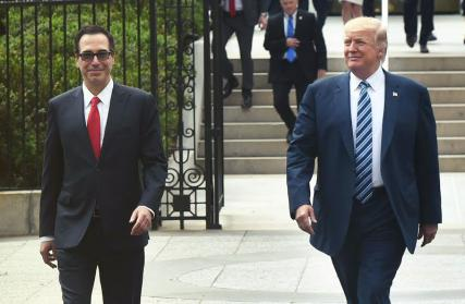 Secretary Mnuchin walking with POTUS